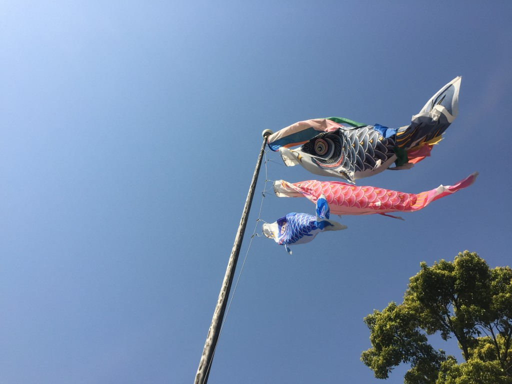 品川神社・富士塚 山頂・鯉のぼり